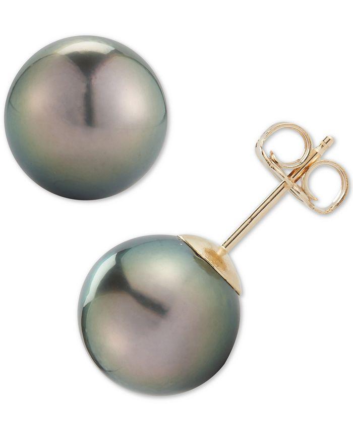 Macy's - Black Cultured Tahitian Pearl (9mm) Stud Earrings in 14k Gold