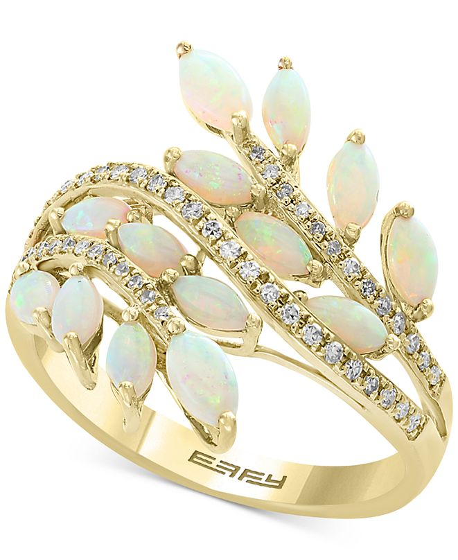 EFFY Collection EFFY® Opal (1-1/3 ct. t.w.) & Diamond (1/5 ct. t.w.) Ring in 14k Gold