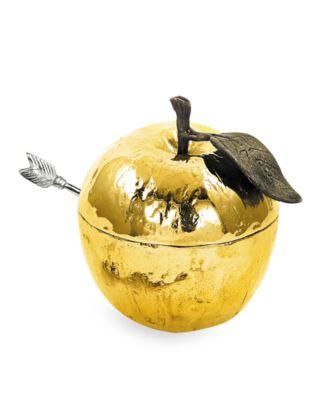 Gold Plated Apple Honey Pot
