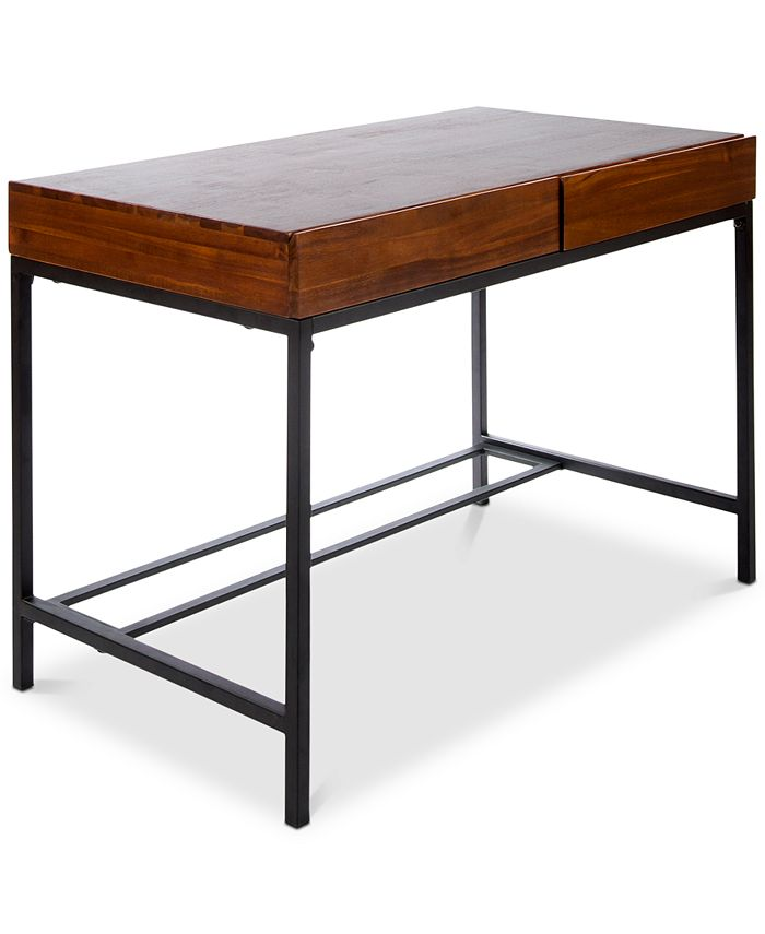 Noble House - Morgan Industrial Acacia Wood Storage Desk with Rustic Metal Iron Accents, Quick Ship