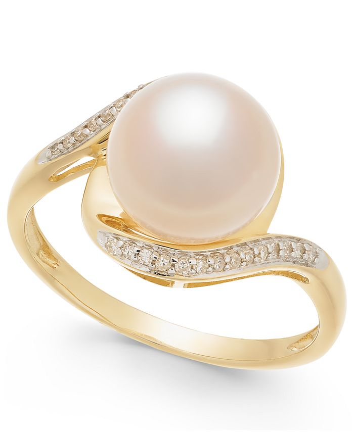 Macy's - Cultured Freshwater Pearl (9mm) and Diamond Accent Ring in 14k Gold