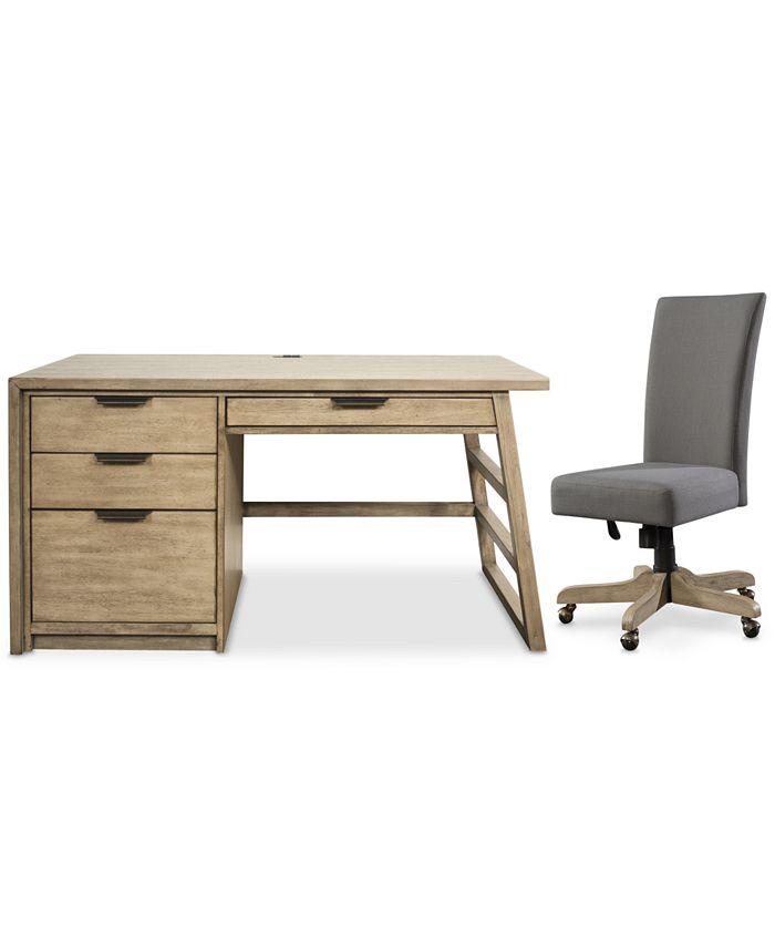 Furniture - Ridgeway Home Office , 2-Pc. Set (Single Pedestal Desk & Upholstered Desk Chair)