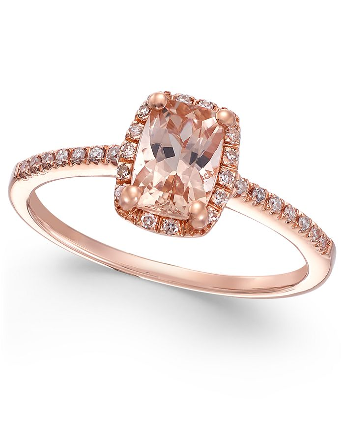 Macy's - Morganite (3/4 ct. t.w.) and Diamond (1/10 ct. t.w.) Ring in 14k Rose Gold