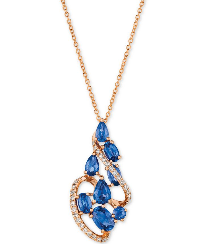 "Le Vian - Blueberry Sapphire™ (2-3/8 ct. t.w.) & Diamond (1/5 ct. t.w.) 18"" Pendant Necklace in 14k Rose Gold"