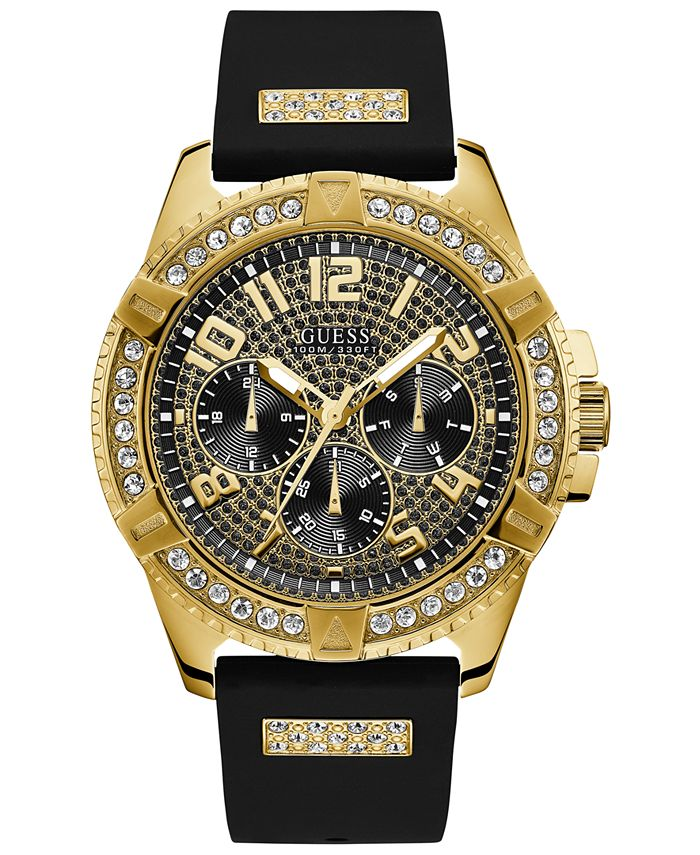 GUESS - Men's Black Silicone Strap Watch 48mm