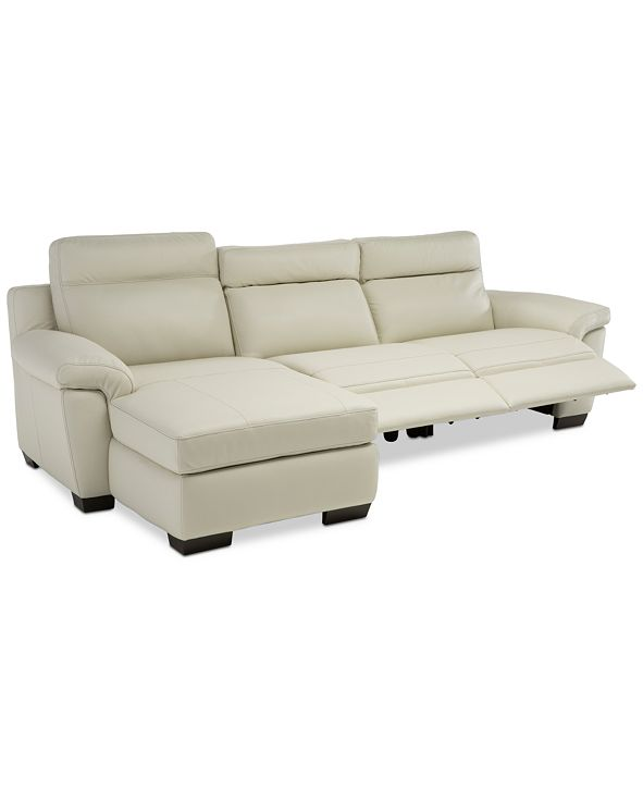 Furniture Julius II 3-Pc. Leather Chaise Sectional Sofa With 2 Power Recliners, Power Headrests And USB Power Outlet