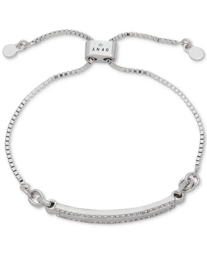 DKNY - Silver-Tone Pavé Bar Slider Bracelet