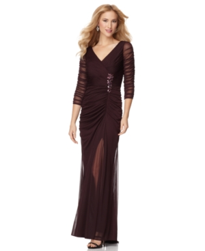 Adrianna Papell Dress, Three Quarter Sleeve Ruched Evening Gown