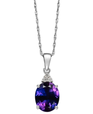 14k White Gold Necklace, Amethyst (2-1/5 ct. t.w.) and Diamond Accent Pendant
