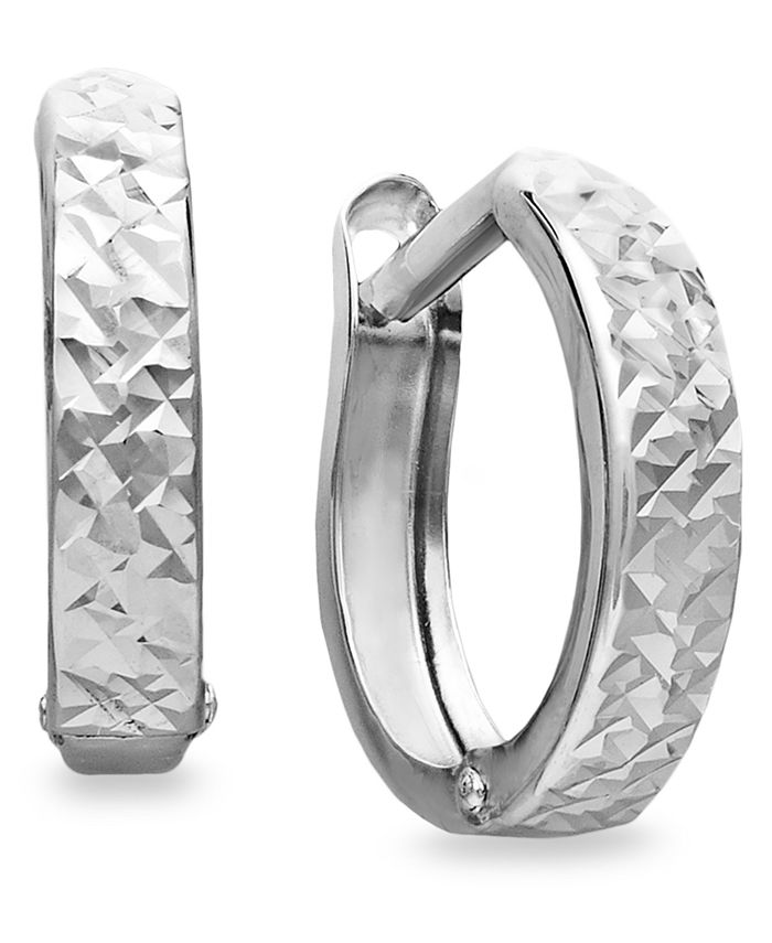 Macy's - 10k White Gold Earrings, Diamond Cut Hinged Hoop Earrings