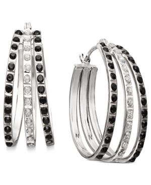 14k White Gold Earrings, Black and White Diamond Accent Fan Hoop Earrings