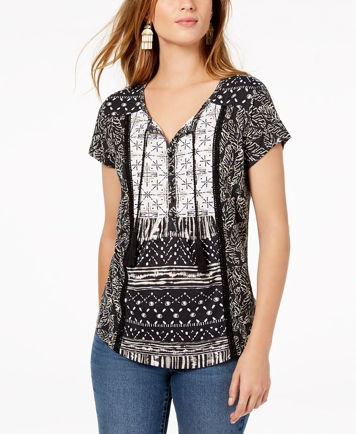 Style & Co - Petite Mixed-Print Peasant Top