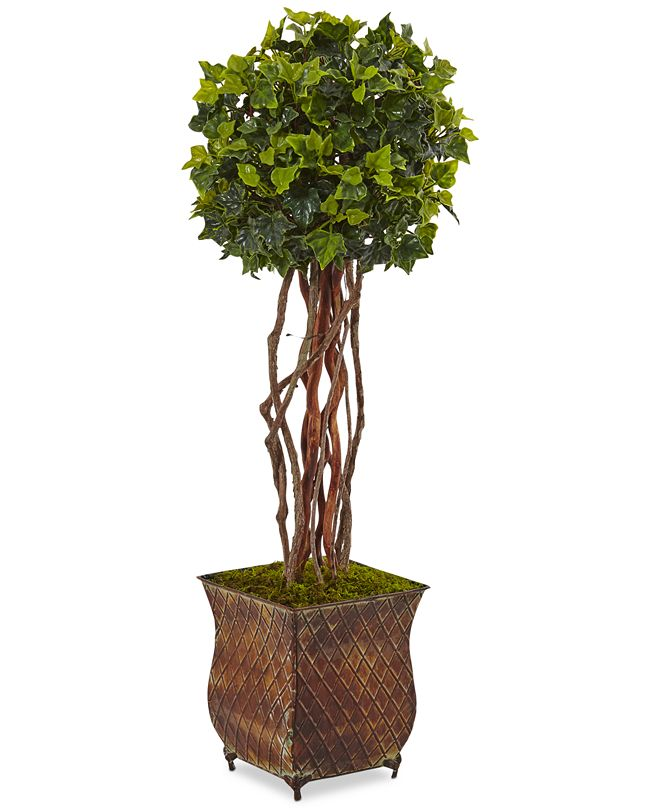 "Nearly Natural 30"" English Ivy UV-Resistant Indoor/Outdoor Artificial Tree in Metal Planter"