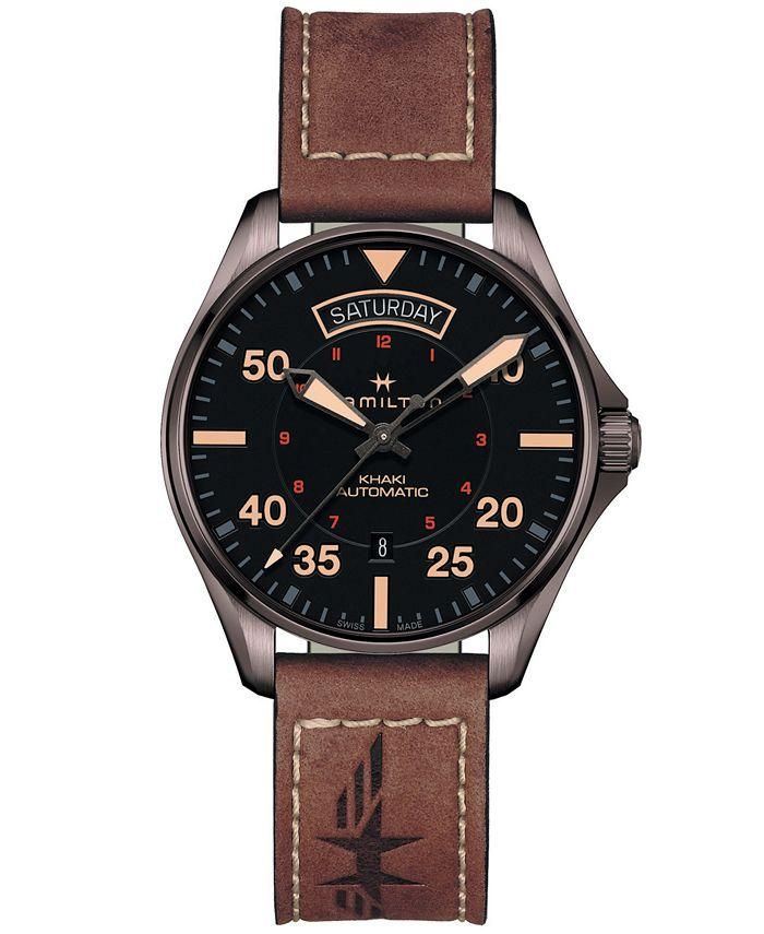 Hamilton - Men's Swiss Automatic Khaki Pilot Brown Leather Strap Watch 42mm
