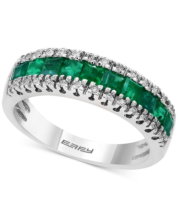 EFFY Collection - Emerald (1-1/8 ct. t.w.) & Diamond (1/8 ct. t.w.) Band in 14k Gold