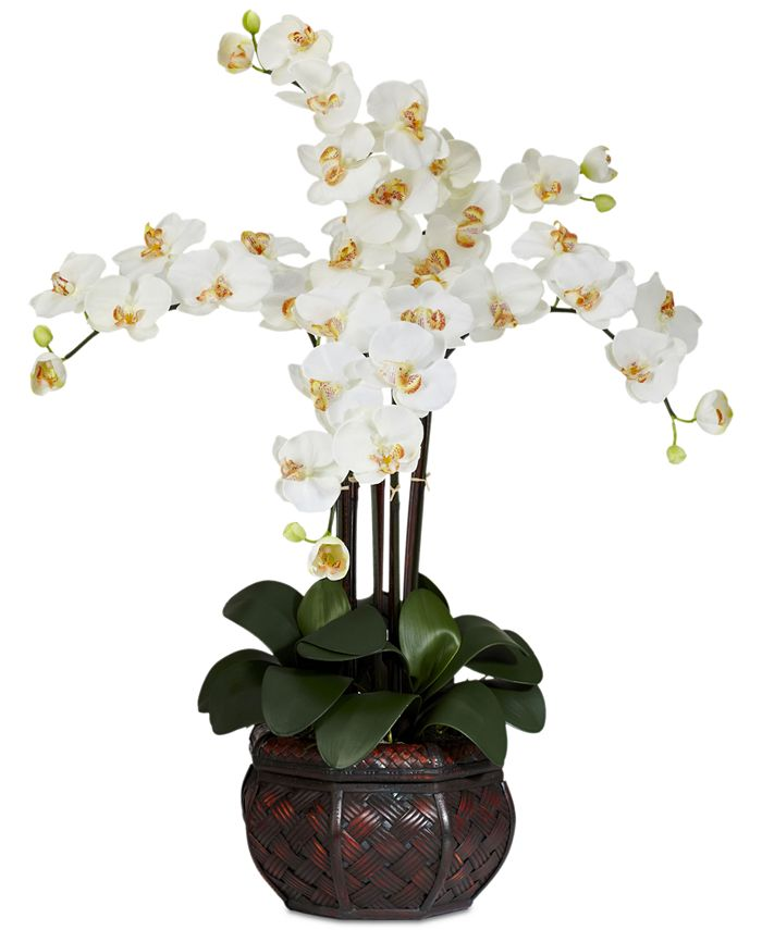 Nearly Natural Phalaenopsis Orchid Artificial Flower Arrangement In Decorative Vase Reviews Home Macy S