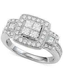 Diamond Princess Halo Ring (1 ct. t.w.) in 14k White Gold