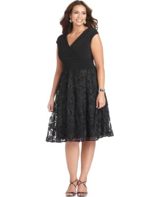 Adrianna Papell Plus Size Dress, Cap Sleeve Pleated Tulle A-Line