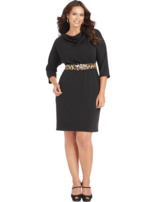 Jessica Howard Plus Size Dress, Three Quarter Sleeve Cowl Neck Belted