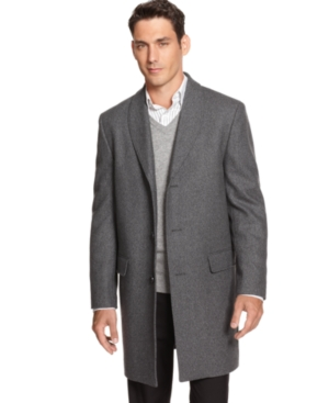 Alfani RED Overcoat, Gray Shawl Collar Slim Fit