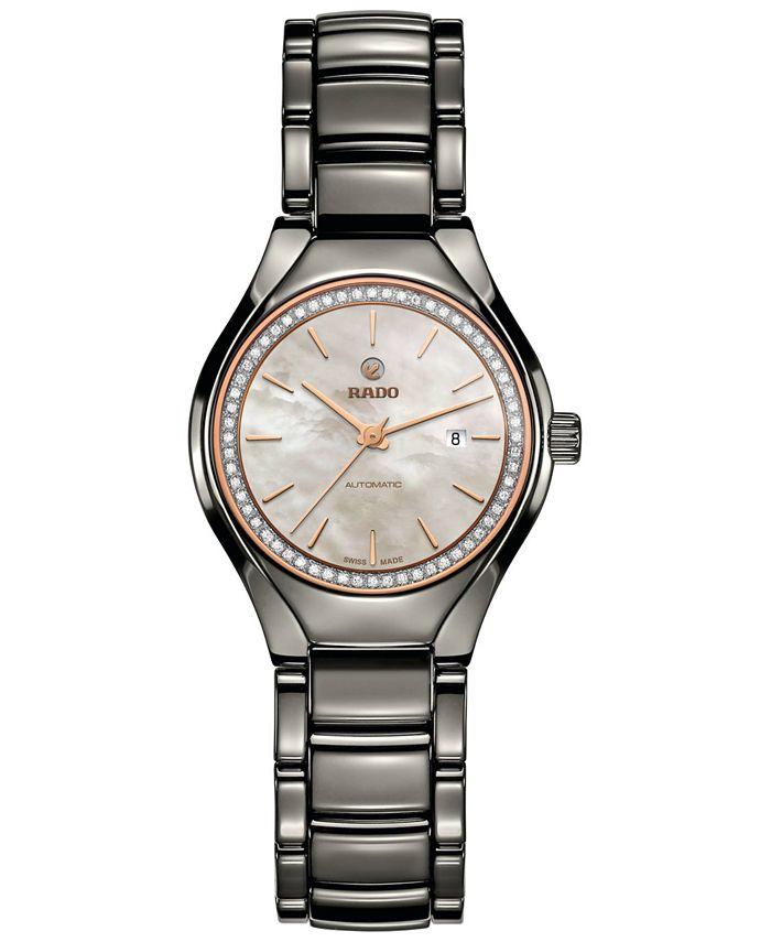 Rado - Women's Swiss Automatic True Diamond (1/8 ct. t.w.) Plasma High-Tech Ceramic Bracelet Watch 30mm