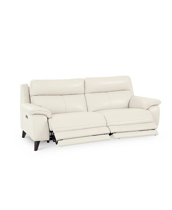 """Furniture Milany 87"""" Leather Power Reclining Sofa with Power Headrest and USB Power Outlet, Created for Macy's"""