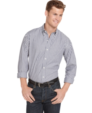 AJ Izod Shirt, Slim Fit Classic Striped Shirt