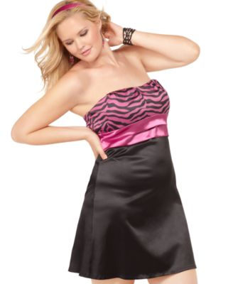 Ruby Rox Plus Size Dress, Strapless Printed Empire
