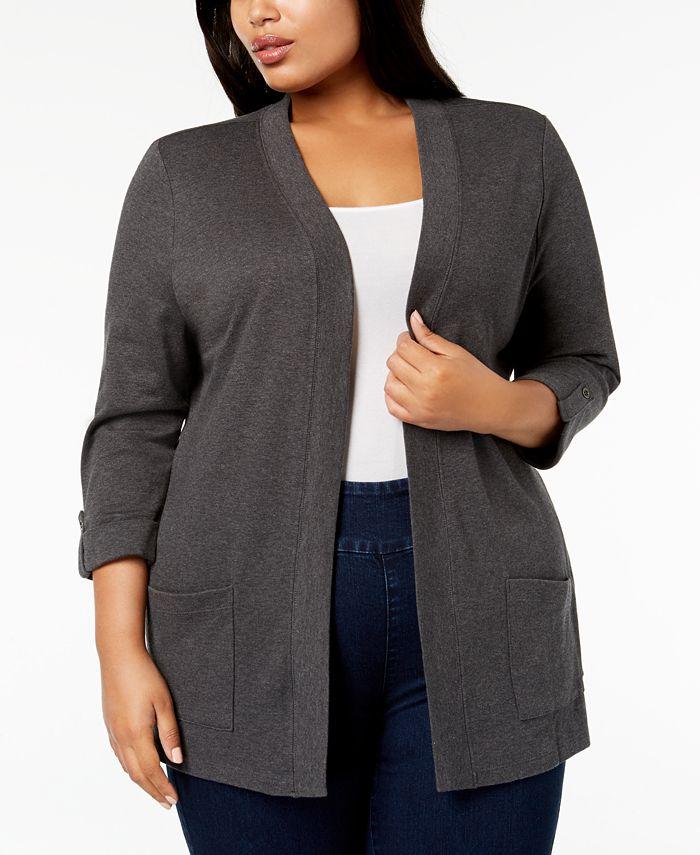 Karen Scott - Plus Size Cotton Cozy Cardigan