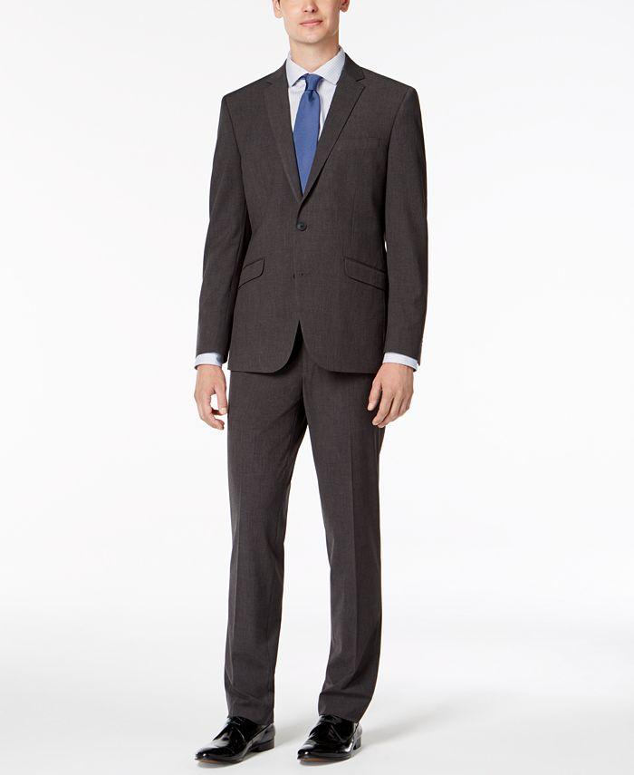 Kenneth Cole Reaction - Men's Slim-Fit Techni-Cole Stretch Charcoal Micro-Grid Suit