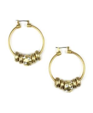 Jones New York Earrings, Gold Tone Cluster Bead Hoop Earrings