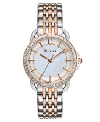 Bulova Watch Womens Diamond Accent Two Tone Stainless Steel Bracelet 31mm 98R144