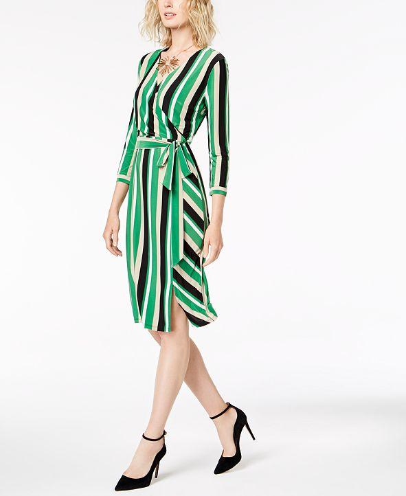 INC International Concepts I.N.C. Petite Striped Midi Wrap Dress, Created for Macy's