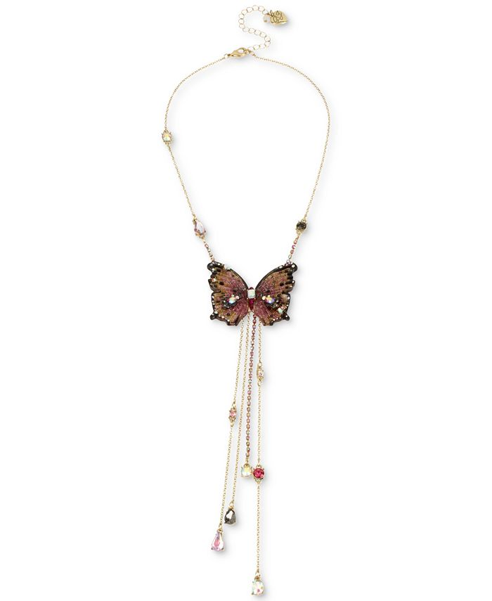 "Betsey Johnson - Gold-Tone Bead & Butterfly 16"" Lariat Necklace"