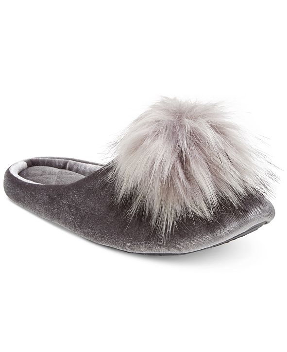 INC International Concepts INC Pom Pom Velvet Slippers, Created for Macy's