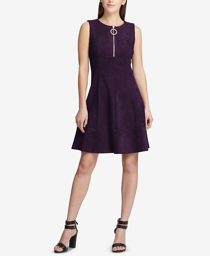 DKNY - Faux-Suede Fit & Flare Dress