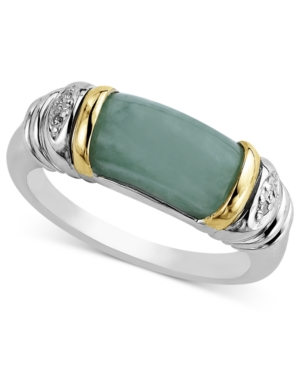 14k Gold and Sterling Silver Ring, Jade and Diamond Accent Barrel Ring