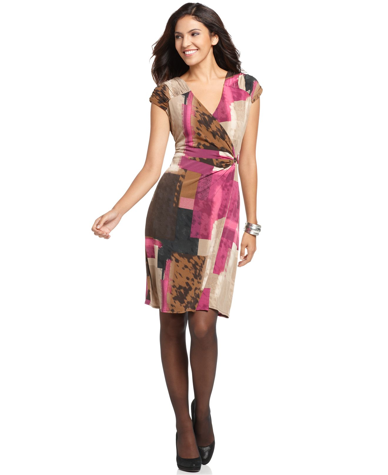 Alfani Dress, Cap Sleeve Printed Ruched Faux Wrap Jersey