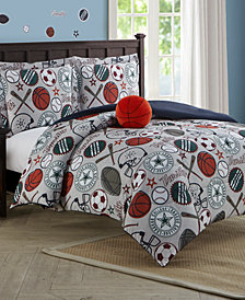 CLOSEOUT! League Sports 3-Piece Comforter Set With Decorative Pillow Twin