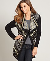 Style&co. Sweater, Long Sleeve Fair Isle Open Front Cardigan