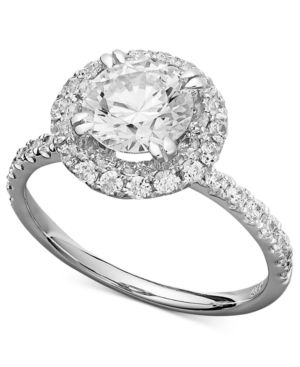 Arabella 14k White Gold Ring, Swarovski Zirconia Round Pave Engagement ...