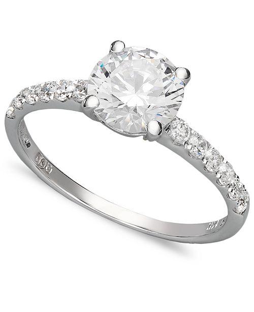 Arabella 14k White Gold Ring Swarovski Zirconia Wedding Ring 2 3 4 Ct T W Reviews Rings Jewelry Watches Macy S