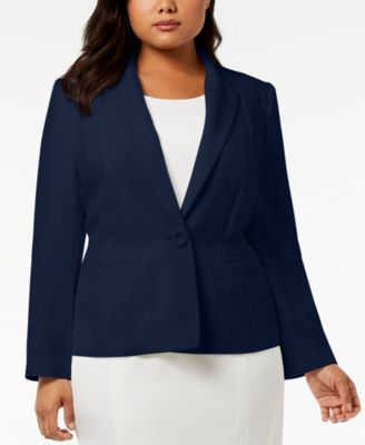 Plus Size One-Button Crepe Blazer