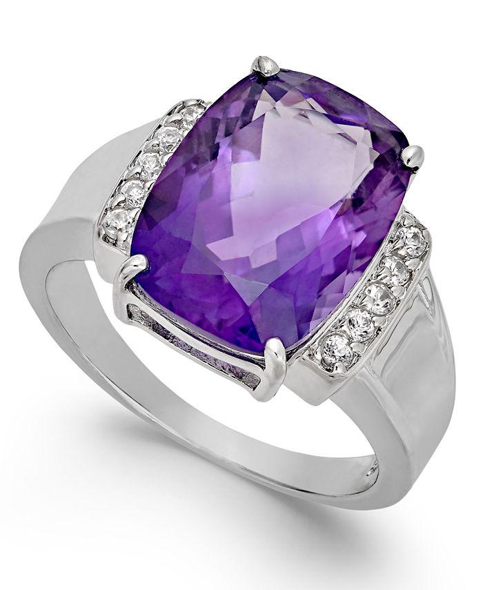Macy's - Amethyst (6 ct. t.w.) & Diamond (1/10 ct. t.w.) Statement Ring in Sterling Silver
