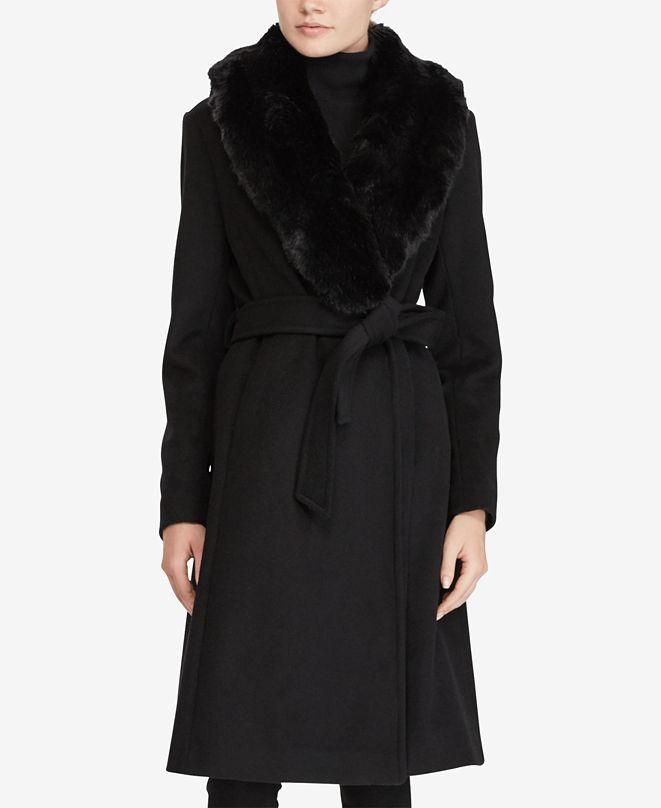 Lauren Ralph Lauren Faux Fur Shawl-Collar Belted Wrap Coat