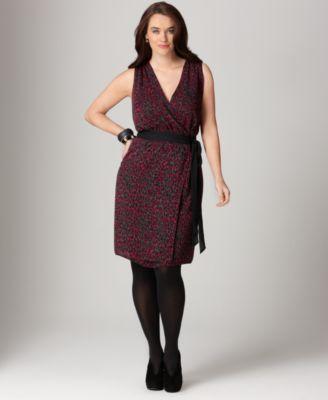 DKNYC Plus Size Dress, Sleeveless Printed Wrap