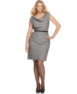AK Anne Klein Plus Size Dress, Sleeveless Belted Cowlneck