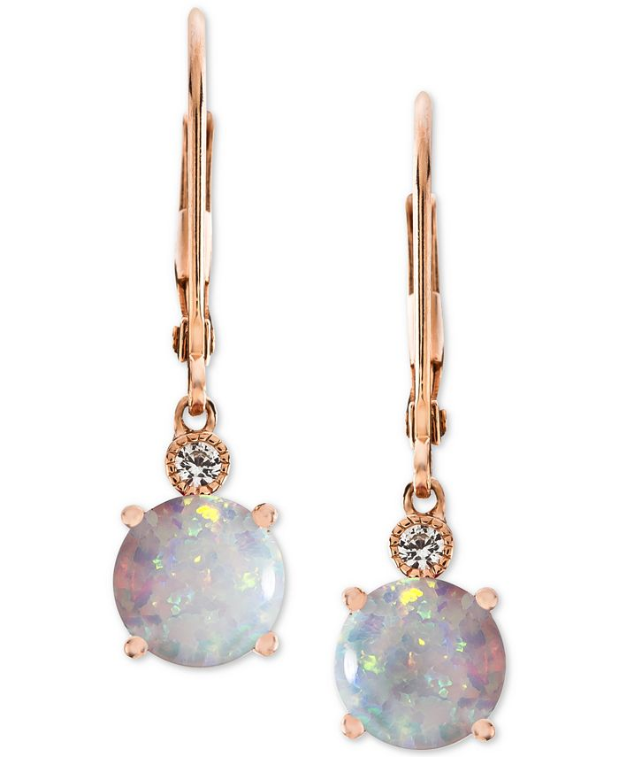 Macy's - Lab-Created Opal (1-1/2 ct. t.w.) & White Sapphire Accent Drop Earrings in 14k Rose Gold-Plated Sterling Silver