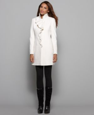 DKNY Petite Coat, Double Collar Ruffle Front Cashmere Blend