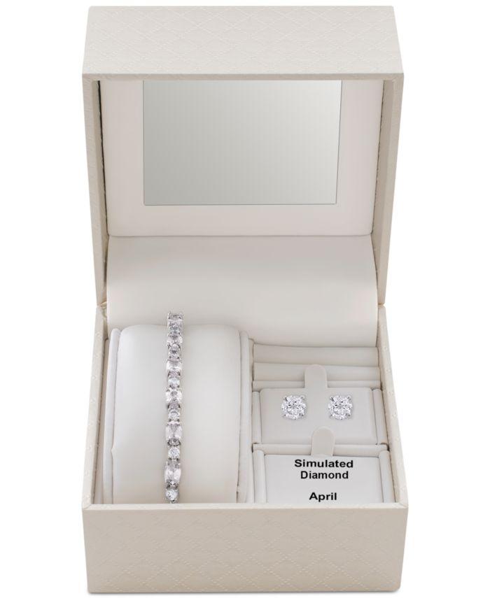 Macy's Clear Cubic Zirconia Slider Bracelet & Cubic Zirconia Stud Earrings Set in Fine Silver-Plate, April Birthstone & Reviews - Fashion Jewelry - Jewelry & Watches - Macy's